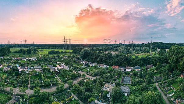 Town, Countryside, Sunset, Power Poles, Landscape