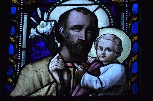 Stained Glass, Window, Church, Saint, Father, Joseph