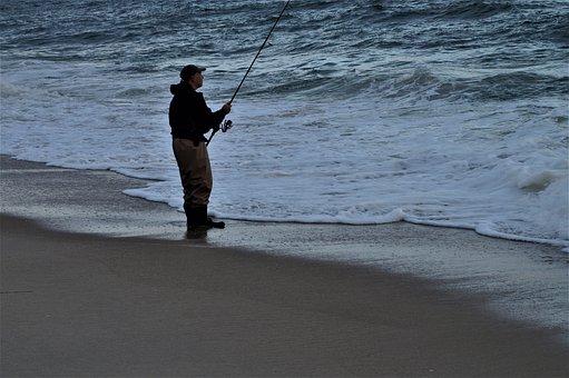 Fishing, Ocean, Man, Fisherman, Fishing Rod, Hobby