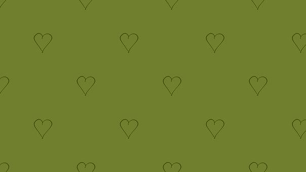 Heart, Valentine, Green, Background, Love
