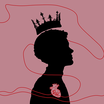 Prince, Heart, Red String, Silhouette, Profile, Crown