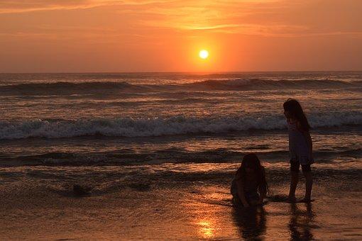 Sunset, Beach, Children, Vacation, Holiday, Kids, Sun