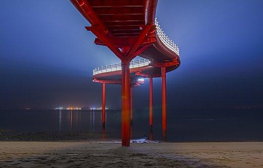 Namdanghang Port, Observation Deck, Sea, Night, Lights