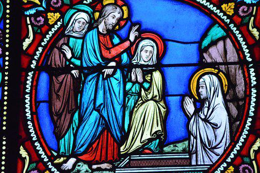 Stained Glass, Window, Church, Saint, Lazarus, Death