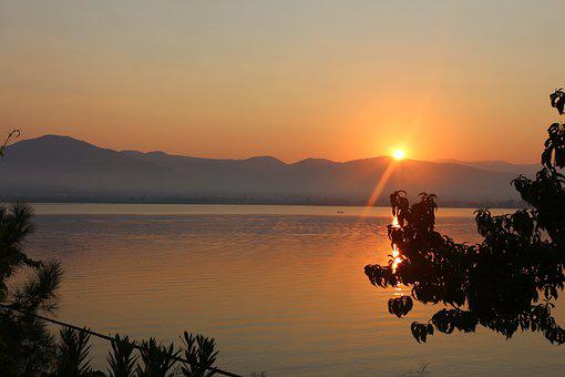 Sea, Mountains, Sunset, Nature, Bay, Ocean, Scenery