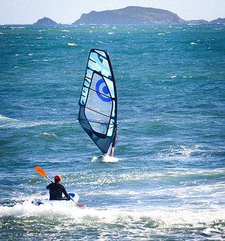 Windsurfing, Sea, Waves, Boat, Ocean, Water, Sport