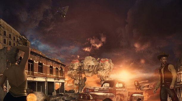Fantasy, Robots, Ruins, Sunset, Abandoned Town, Old Car