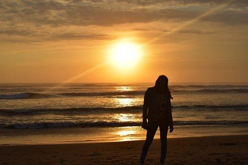 Sunset, Beach, Tourist, Relaxation, Vacation
