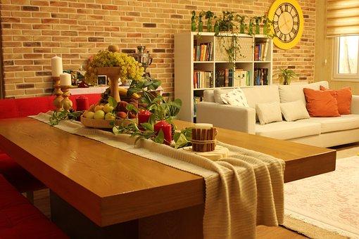Room, Interior, Furniture, Table, Fruits, Brickwall