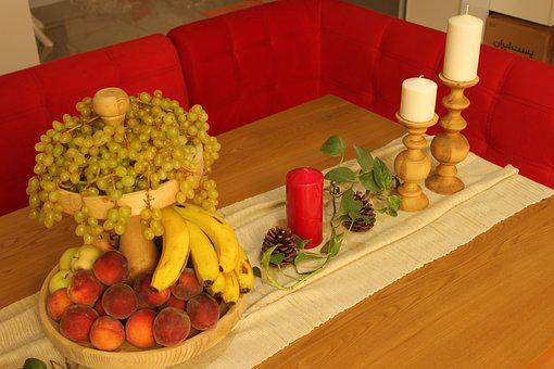 Fruits, Candles, Table, Table Runner, Food, Tray