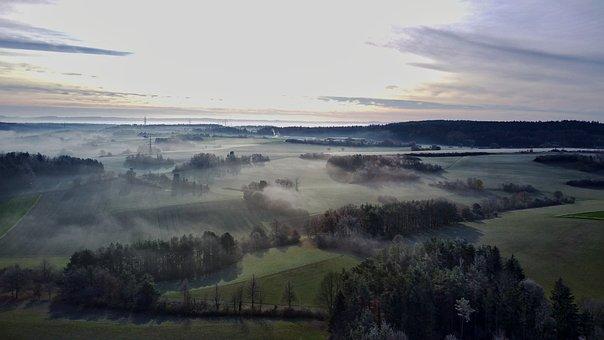 Fields, Fog, Sunrise, Rural, Village, Landscape, Nature