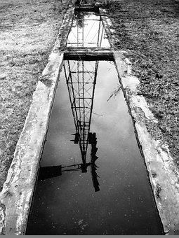 Reflection, Trough, Windmill, Water, Structure