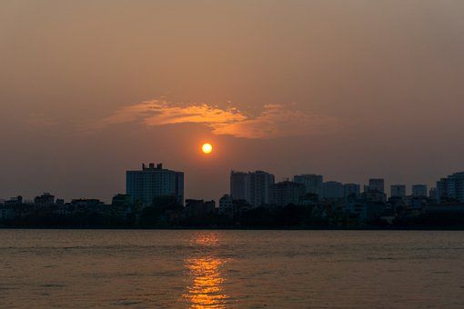 Sunset, West Lake, Afternoon, Water, Waves, Buildings