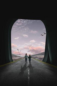 Airplane Window, Children, Road, Kids, Walk, Journey