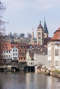 Town, River, Church, Steeple, Towers, Bridge, Old Town