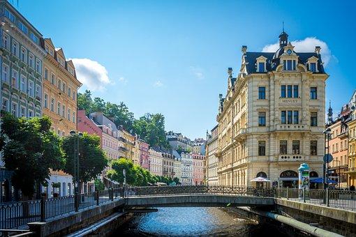 City, River, Czech Republic, Karlovy Vary, Promenade