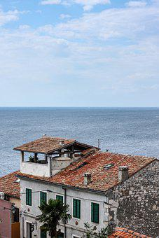 Mediterranean, Coast, Town, Roof, Houses, Building