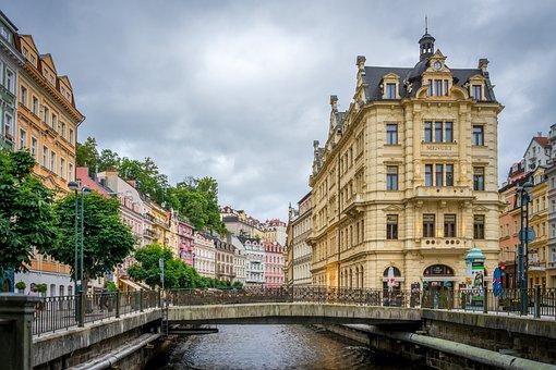City, Czech Republic, River, Karlovy Vary, Promenade