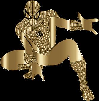 Spider-man, Cartoon, Comic, Superhero, Line Art, Gold