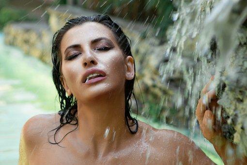 Woman, Model, Portrait, Bathe, Water, Wet, Face, Makeup