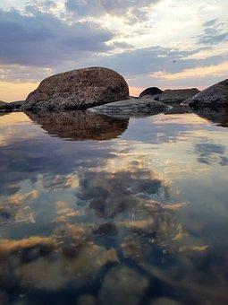 River, Sky, Reflection, Sea, Water, Rocks, Horizon