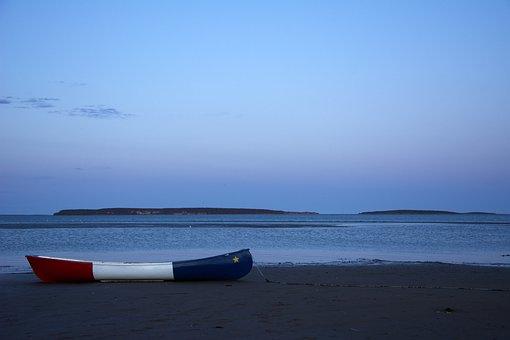Blue Hour, Boat, Beach, Sea, Calm, Night, Dusk