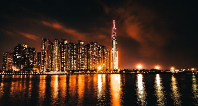 City, Sea, Night, Vietnam, Lights, Buildings, Skyline