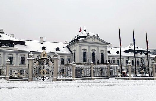 Palace, Winter, Season, Snow, Bratislava, Slovakia