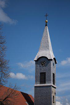 Church, Steeple, Clock, Architecture, Building, Tower