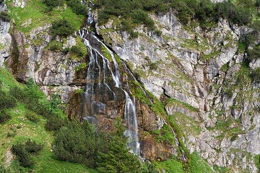 Mountains, Waterfall, Landscape, Rubihorn, Nature