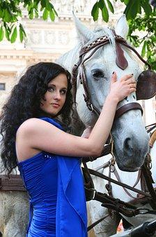 Horse, Woman, Portrait, Outdoors, Model