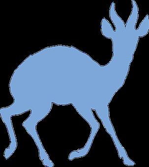 Antelope, Animal, Blue, Silhouette, Horns, Safari