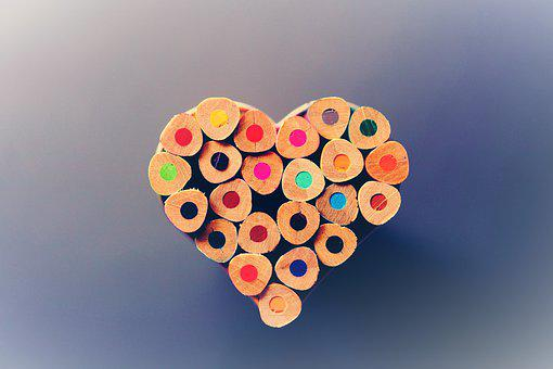 Colour Pencils, Heart, Creativity, Art, School