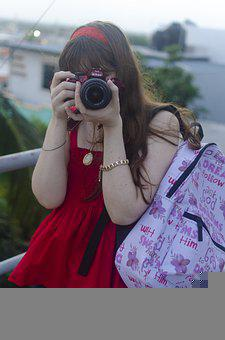 Girl, Photographer, Camera, Backpack, Student, School