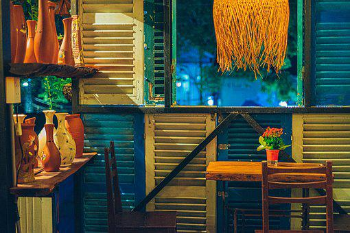 Cafe, Table, Chairs, Furniture, Decoration, Window