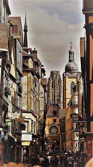 Rouen, France, City, Street, City Gate