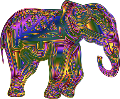 Elephant, Animal, Pachyderm, Wildlife, Line Art