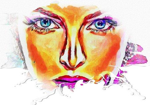 Woman, Model, Watercolor, Aquarelle, Eyes, Face