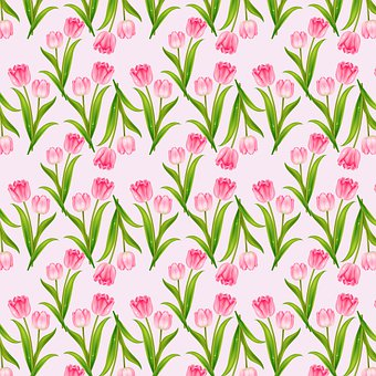 Tulips, Flowers, Pattern, Floral, Design, Seamless