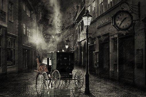 Horse, Cart, Street, Road, Alley, Rain, Night, Coach