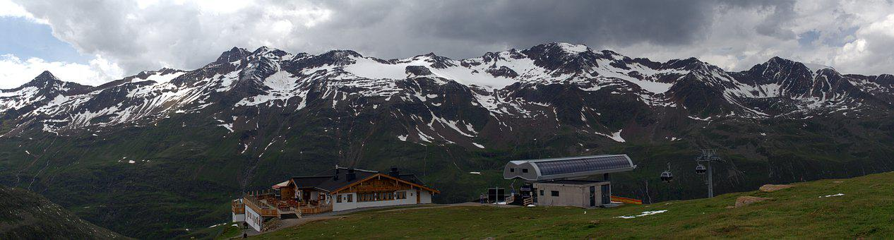 Mountains, Hut, Cable Car, Alpine, Mountain Range