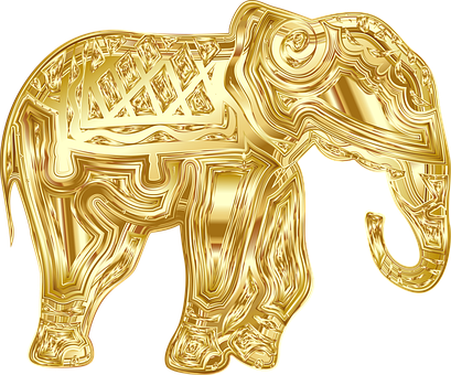 Elephant, Animal, Pachyderm, Wildlife, Line Art, Gold