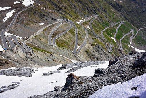 Road, Mountain Pass, Rocks, Snow, Mountain