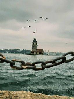 Maiden's Tower, Kiz Kulesi, Sea, Istanbul
