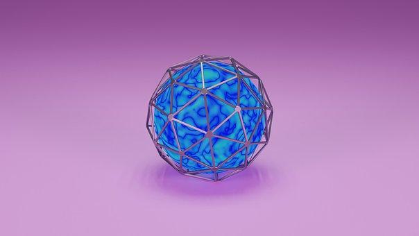 Orb, Blue, Sphere, 3d Mockup, Illuminated, Digital