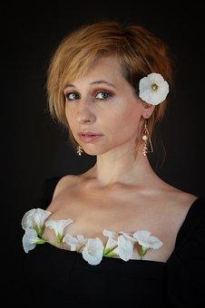 Woman, Model, Portrait, Pose, Flowers, Black Dress