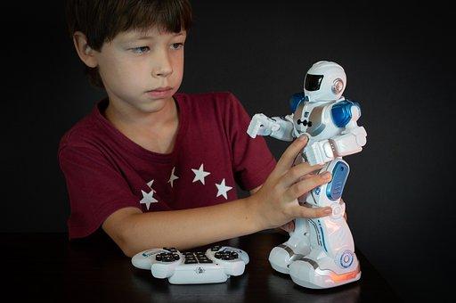 Boy, Model, Pose, Toy, Robot, Remote Control, Play