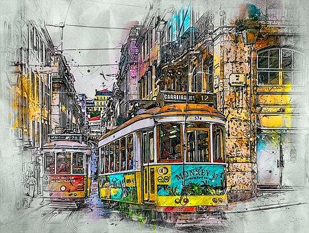 Portugal, City, Trams, Lisbon, Street, Architecture