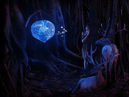 Forest, Bluish, Deer, Bell, Neon, Night, Trees, Fantasy