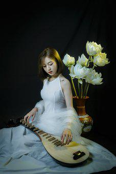 Woman, Model, Portrait, Pose, Musical Instrument, Style
